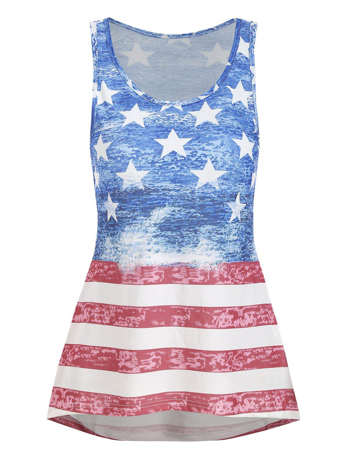 Chic American Flag High Low Casual Tank Top