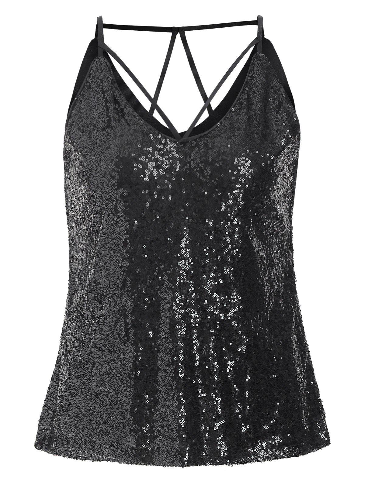 Store Party Strappy Sequins Cami Top