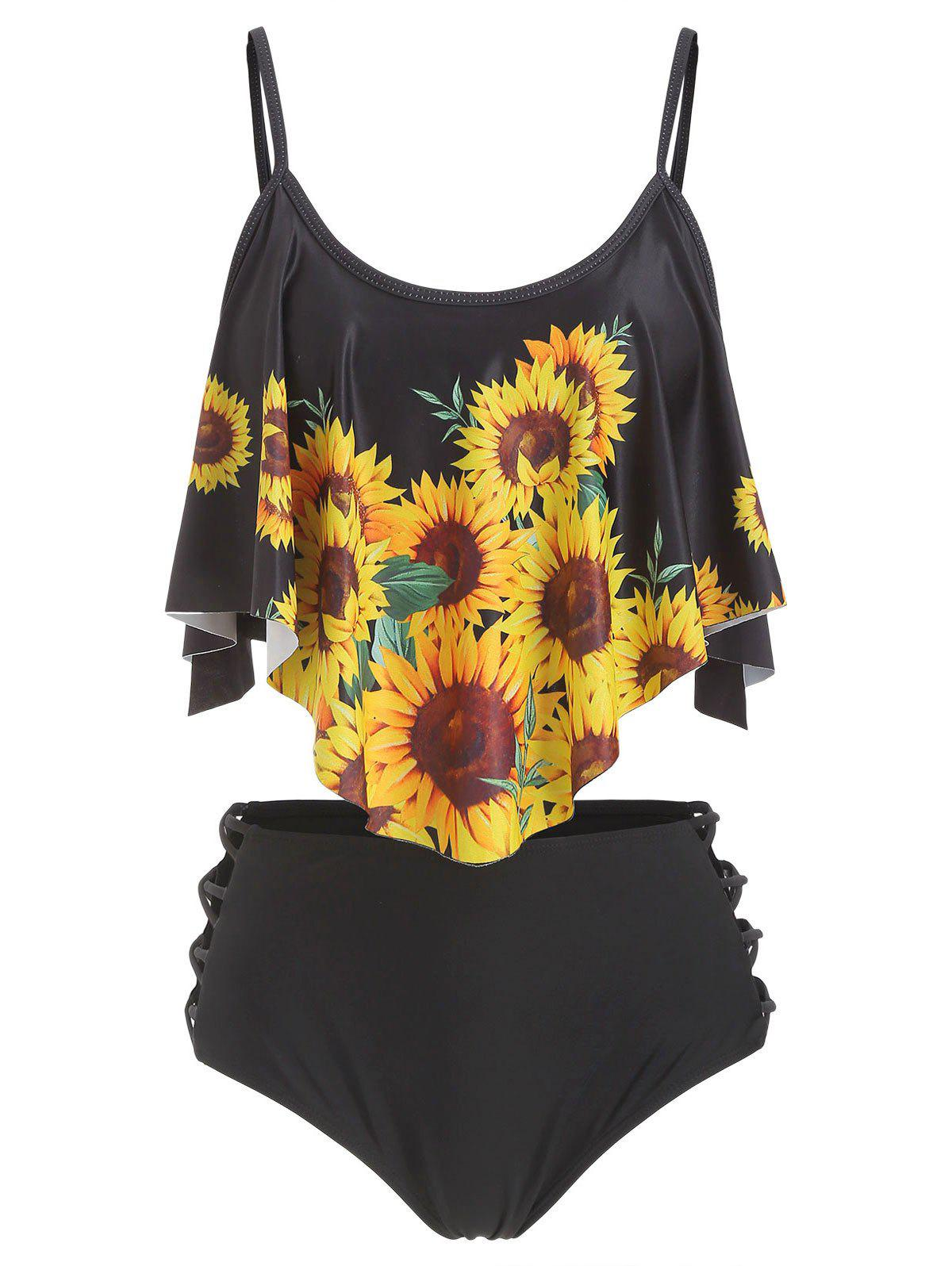Outfits Sunflower Flounce Lattice Tankini Swimsuit