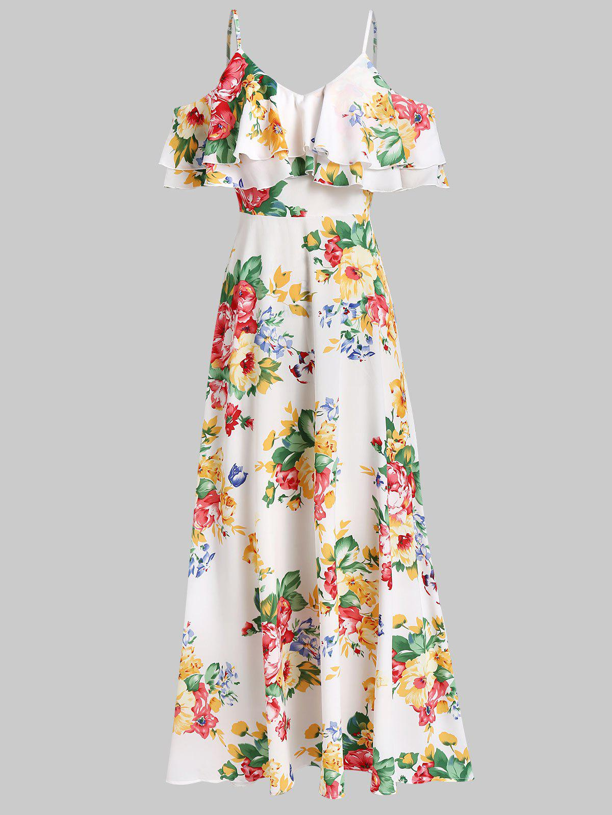 Online Open Shoulder Floral Print Flounce Maxi Dress