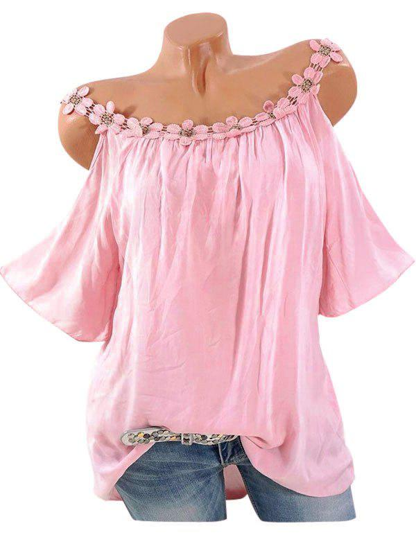 Fancy Plus Size Lace Crochet Open Shoulder Blouse