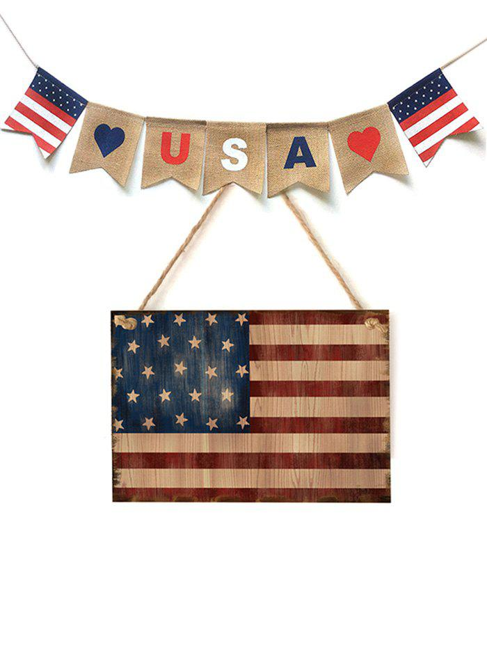 Fancy Home Decoration American Flag Pattern Wooden Hanging Sign