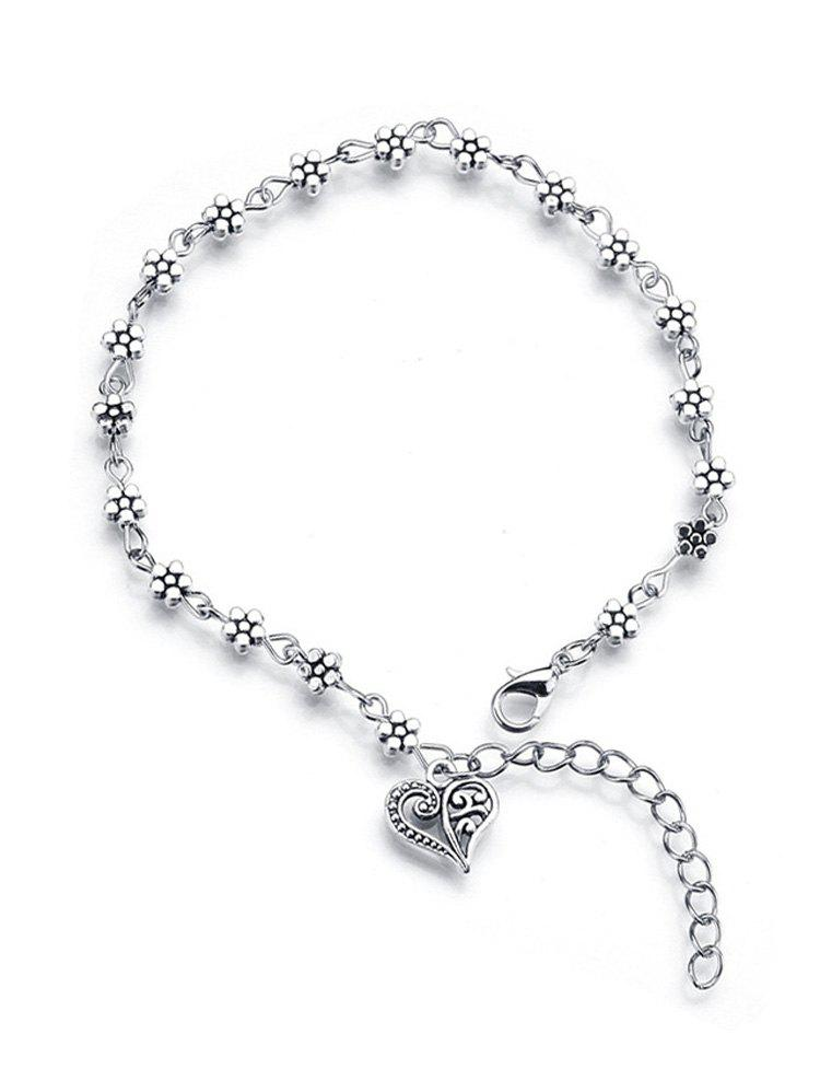 Hot Plum Blossom Hollow Heart Anklet