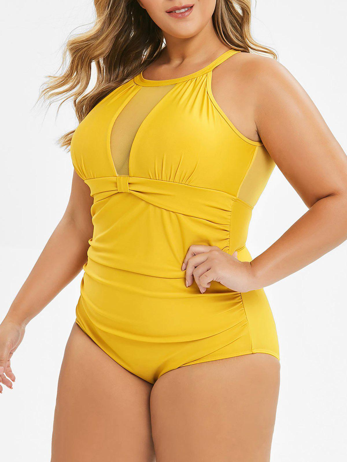 7dbd20d1b87e 44% OFF] Plus Size Cut Out Sheer Mesh Ruched One-piece Swimsuit ...