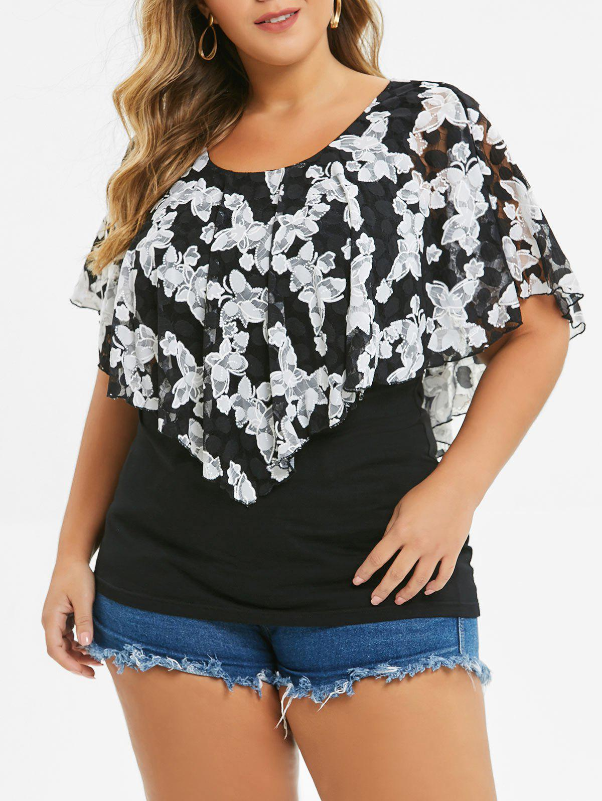 Shop Plus Size Round Neck  Printed Overlay T-shirt