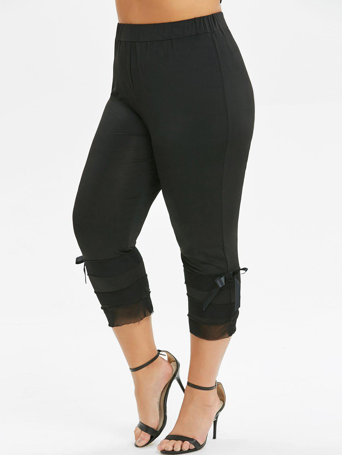 Latest Plus Size High Waist Solid Bowknot Leggings