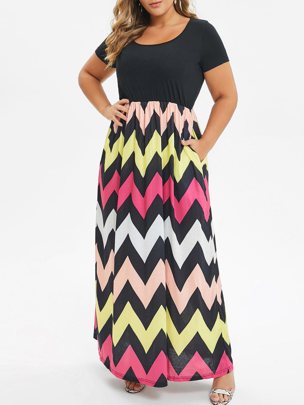 Outfit Seam Pockets Contrast Zig Zag Plus Size Dress