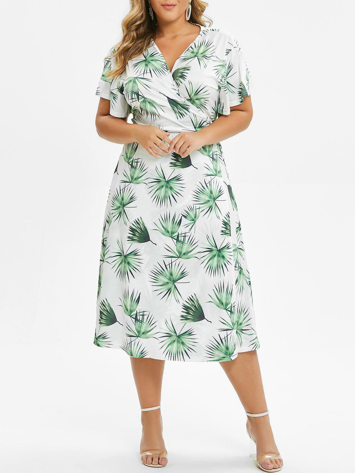 Hot Plus Size Palm Print Midi Wrap Dress