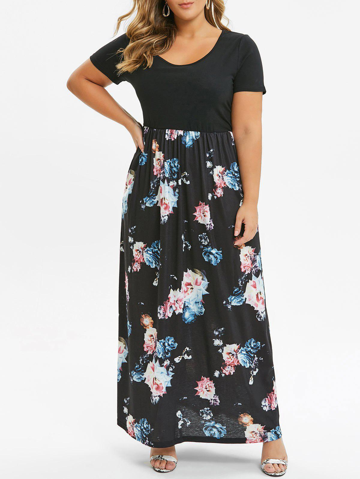 36% OFF] Contrast Pockets Maxi Floral Plus Size Dress | Rosegal