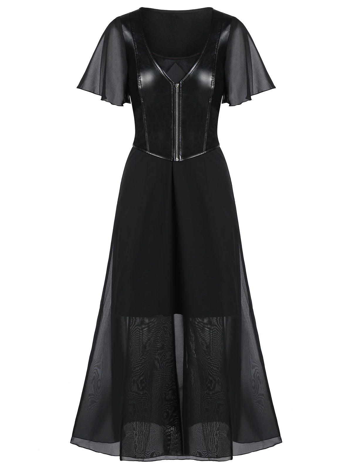 Unique Mesh Insert Strappy Midi Dress with Faux Leather Top