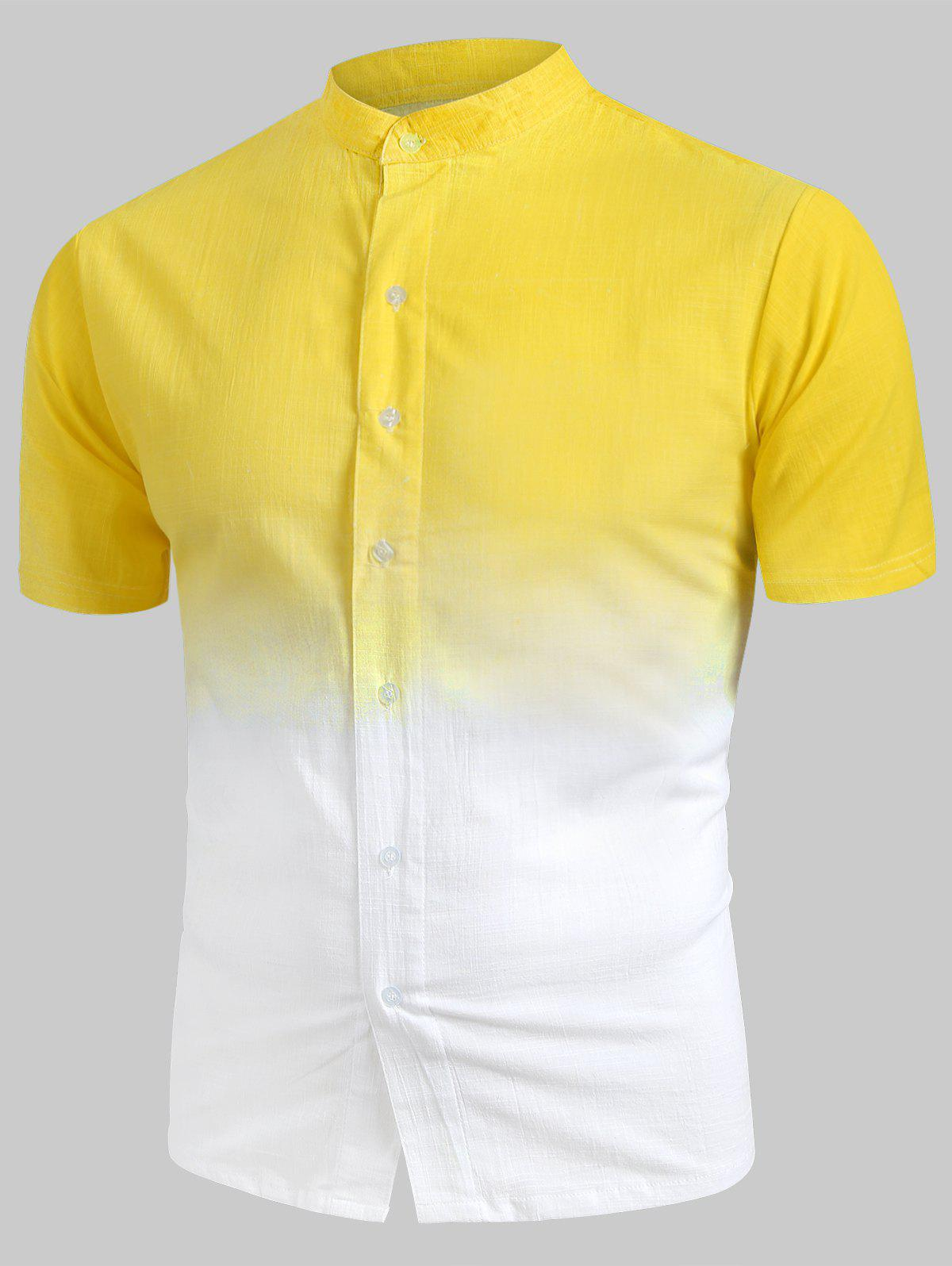 Unique Ombre Stand Collar Linen Shirt