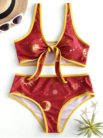 Sun and Moon Padded Knotted Bikini Swimsuit