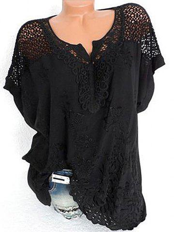 V Neck Fishnet Panel Broderie Anglaise Blouse
