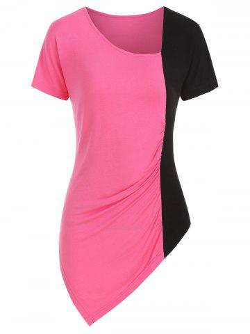 Skew Collar Two Tone Asymmetric Ruched Tee