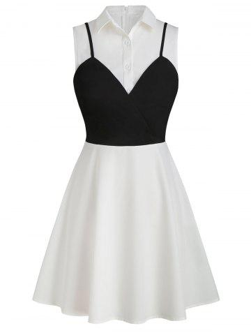 Sleeveless Contrast Faux Twinset Button Dress