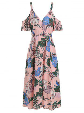 Open Shoulder Maxi Ditsy Print Dress