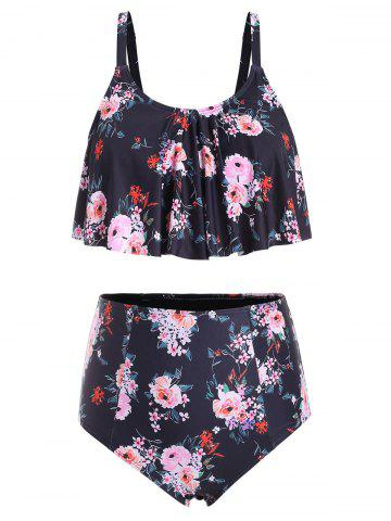 Plus Size High Waisted Ruffle Floral Tankini Swimsuit