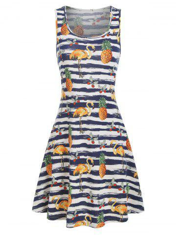 Stripes and Tropical Print Flare Tank Dress