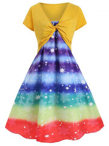 Rainbow Snowflake Print Dress with Twist Crop Tee