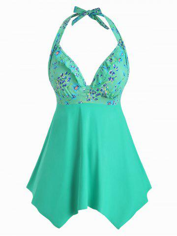 Plus Size Halter Backless Floral Tankini Swimsuit