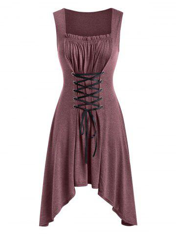 53b3d02c44b84 Red Lace Up Corset Dress - Free Shipping, Discount And Cheap Sale ...