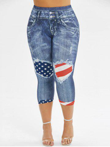 Skinny American Flag 3D Capri Plus Size Jeggings