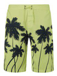 Coconut Palms Print Drawstring Board Shorts -