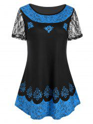 Printed Lace Sleeves Longline T-shirt -