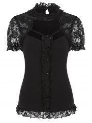 Cut Out Lace Insert Button Ruffle Gothic T-shirt -
