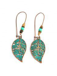Retro Hollowed Out Leaf Shape Drop Earrings -