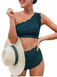 One Shoulder Textured Scalloped Bikini Swimsuit -