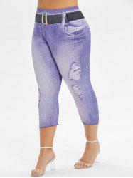 Printed Skinny Capri Plus Size Pants -