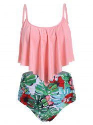 Plus Size Palm Print Overlay Ruched Tankini Swimsuit -