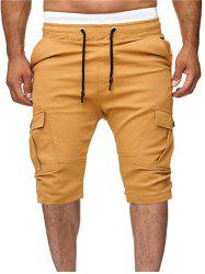 Solid Color Multi-pocket Sport Shorts -