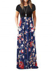 Floral Pockets Floor Length Dress -