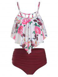 Floral Print Cut Out Overlay Tankini Set -