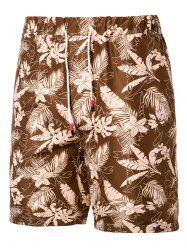 Leaf Floral Pattern Board Shorts -