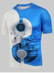 Skull Print Two Tone Casual T Shirt -