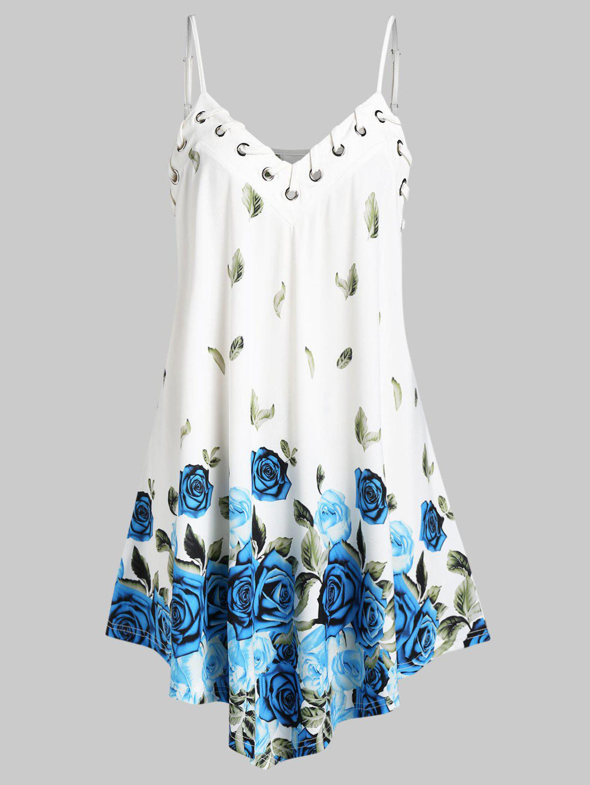 New Plus Size Leaves Floral Print Swing Slip Top