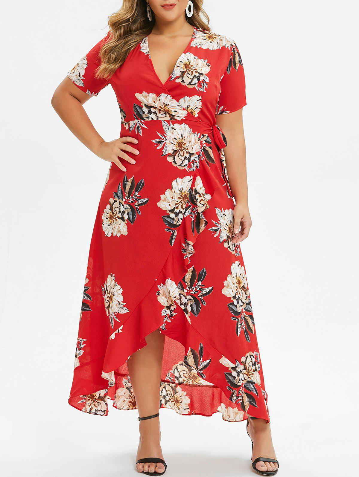 Unique Floral Ruffles Wrap Maxi Plus Size Dress