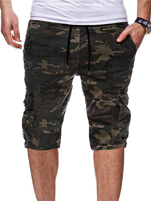 Outfits Drawstring Casual Camouflage Print Shorts