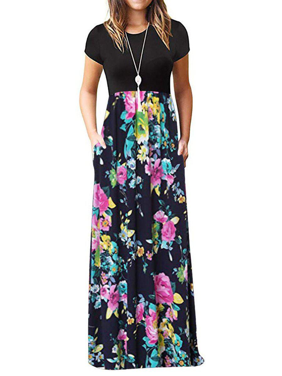 Outfit Floral Pockets Floor Length Dress