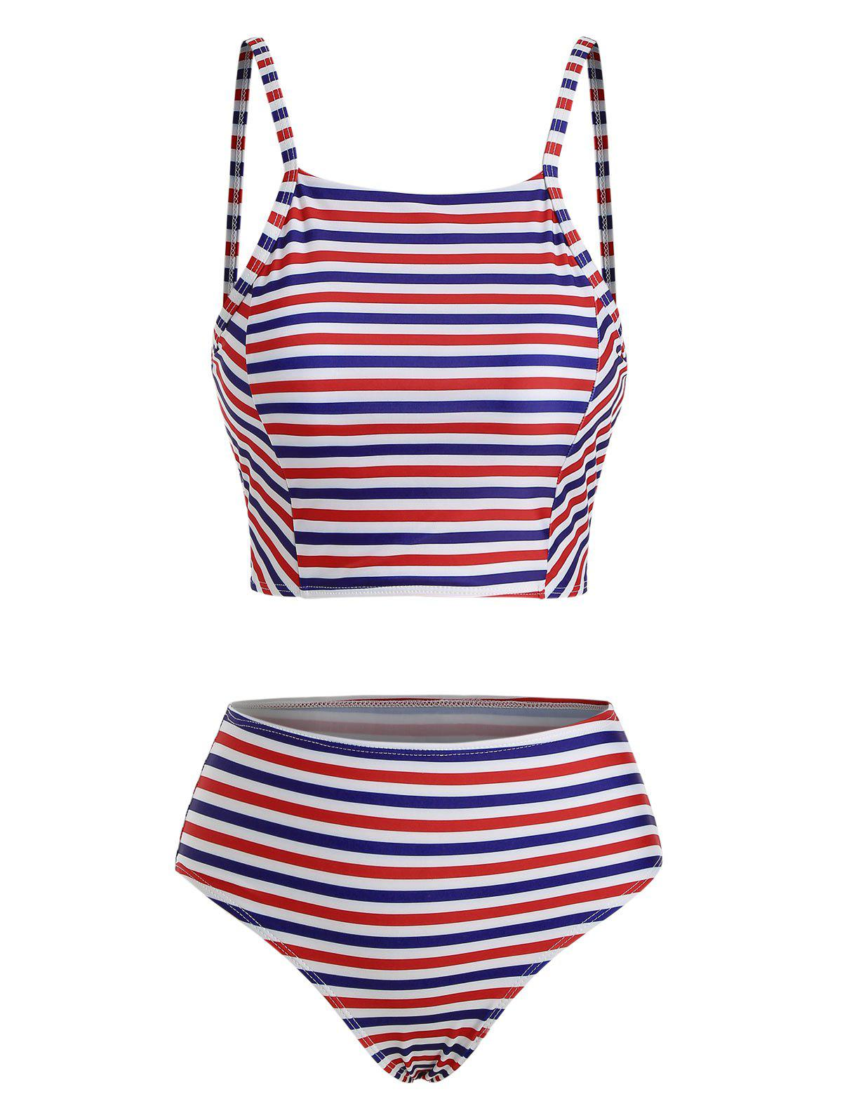 Fancy Multi Striped Lace-up High Neck Bikini Swimsuit