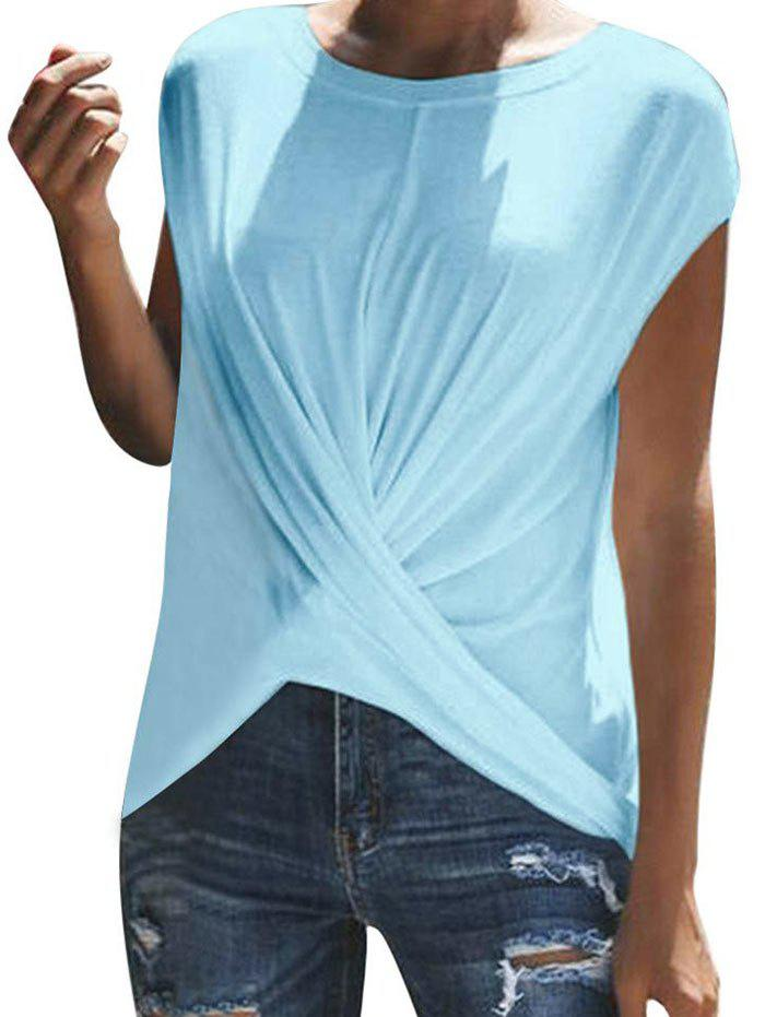 Fashion Twist Front Solid T-shirt