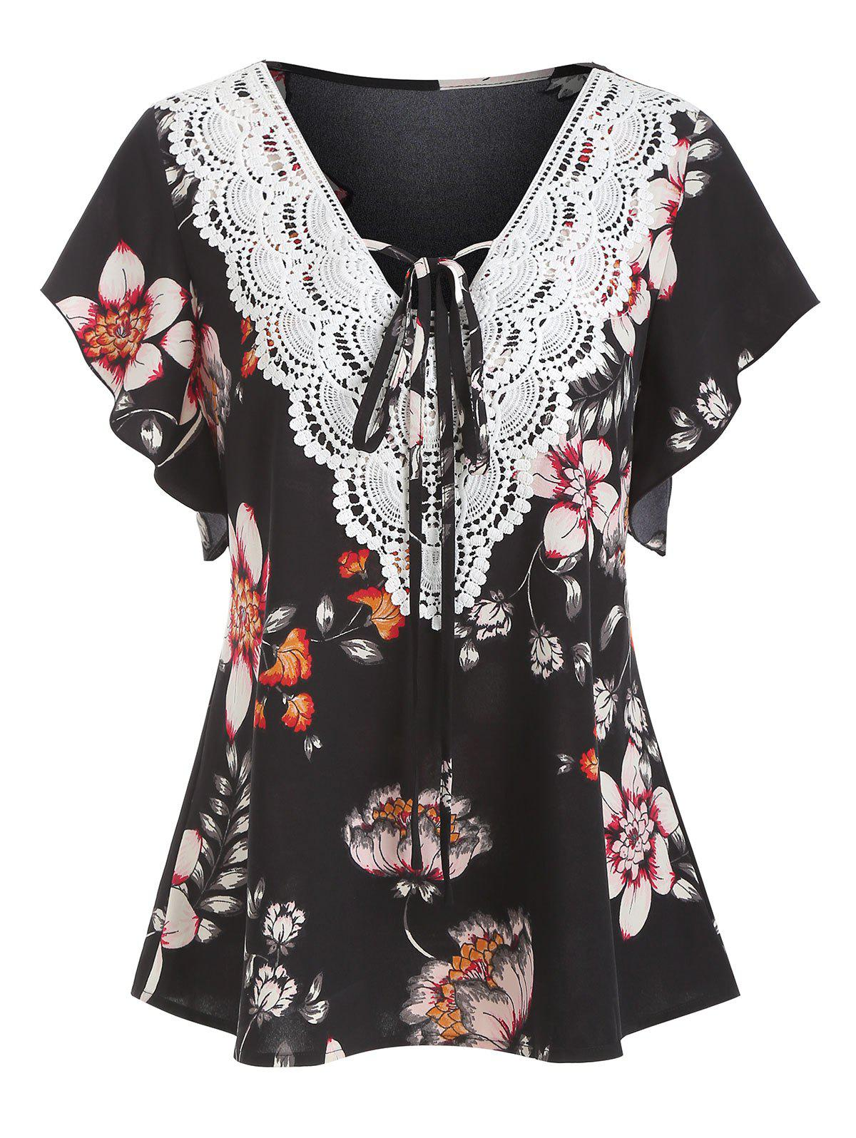 Discount Ditsy Print Lace Insert V Neck T Shirt