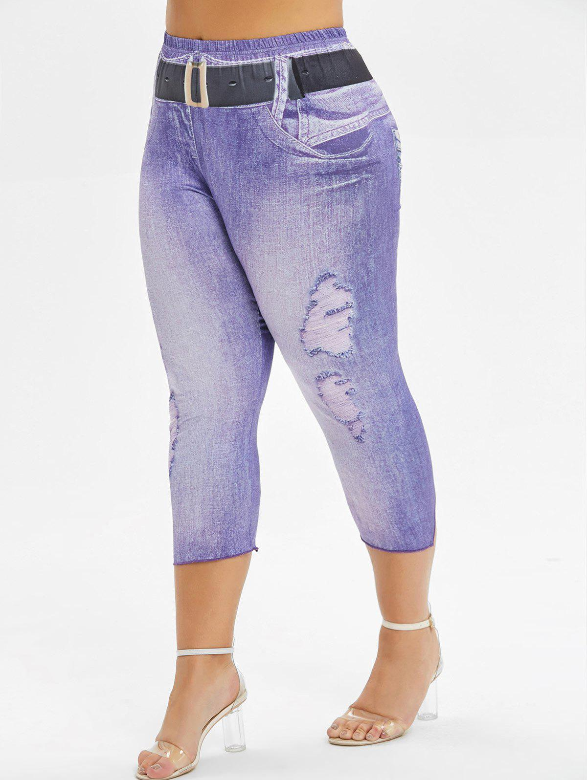 Unique Printed Skinny Capri Plus Size Pants