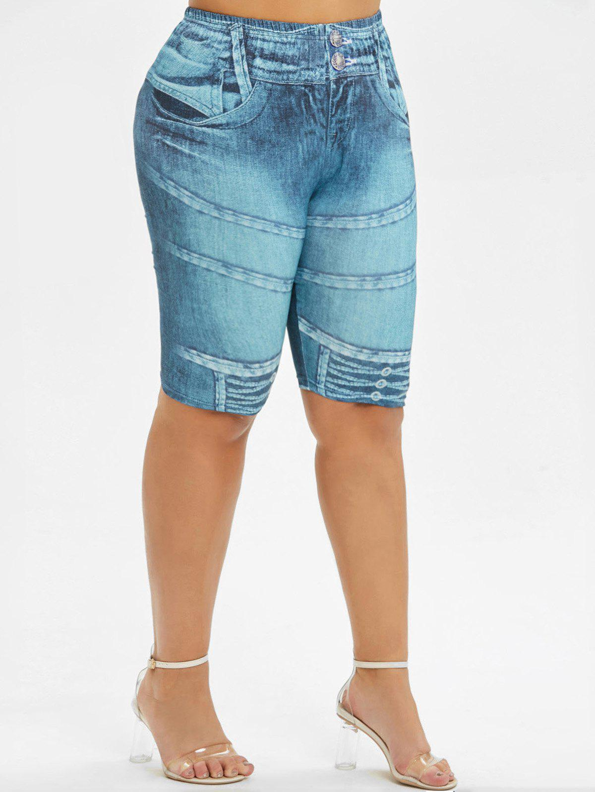 Online Skinny 3D Print Knee Length Plus Size Shorts