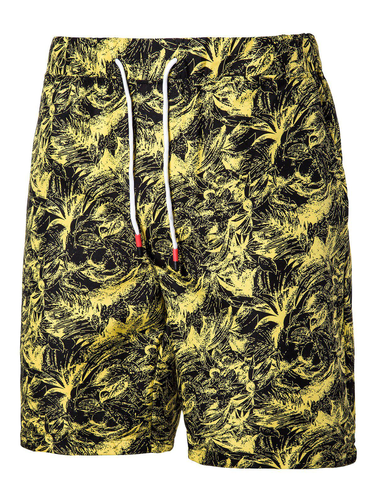 Sale Floral Printed Drawstring Beach Shorts