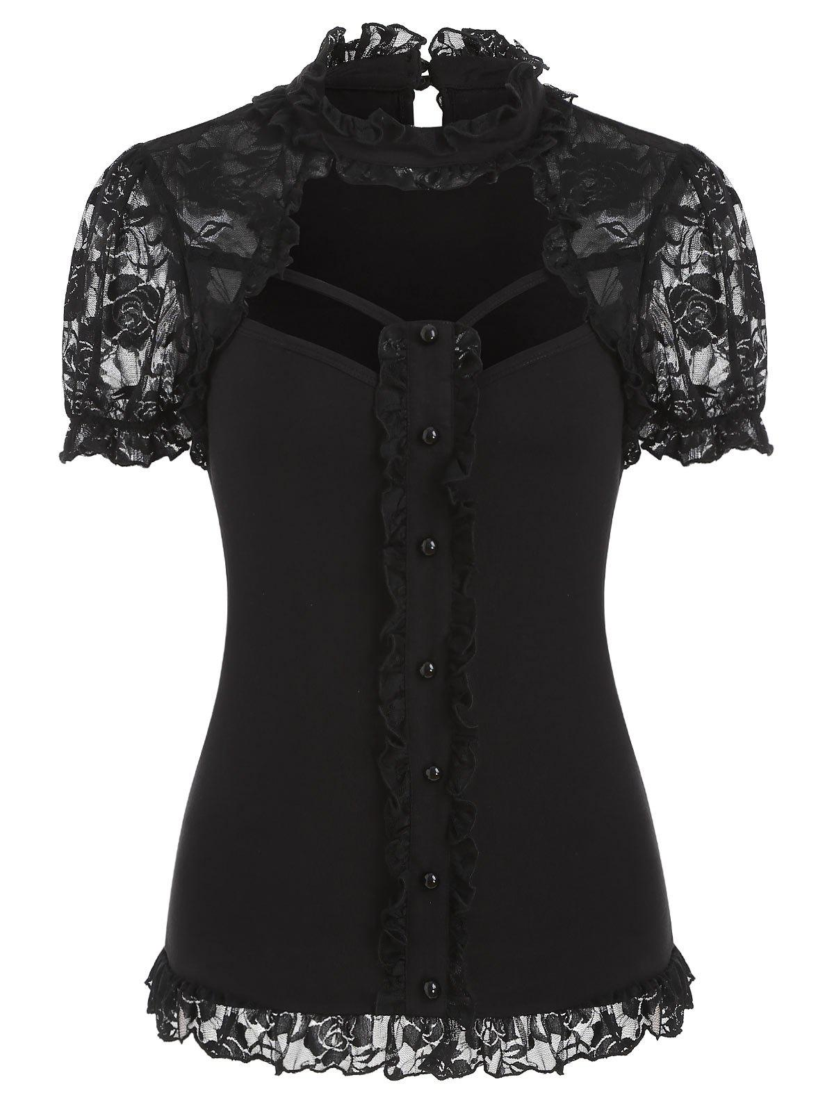 Shops Cut Out Lace Insert Button Ruffle Gothic T-shirt