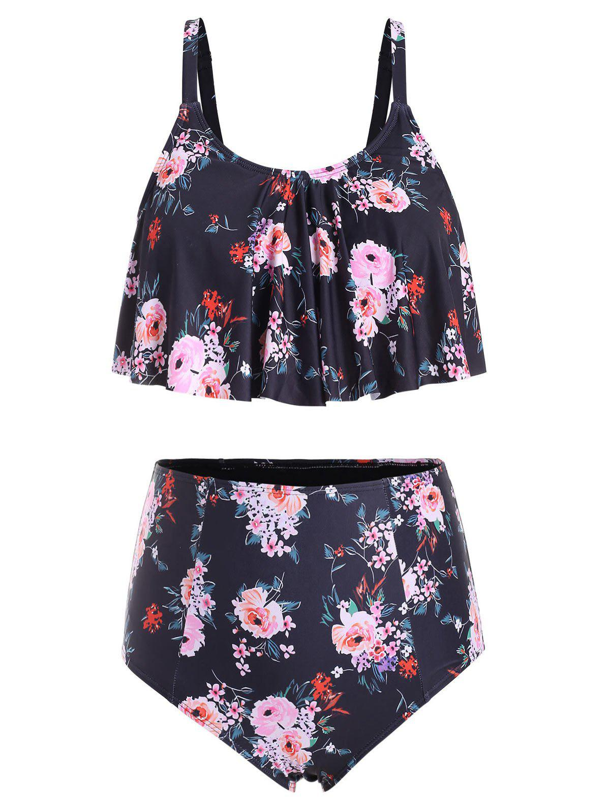 New Plus Size High Waisted Ruffle Floral Tankini Swimsuit